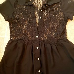 Tops - Sheer Black Lace Top!